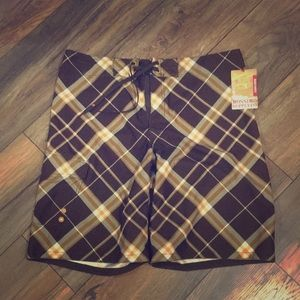 Mossimo men's brown plaid board shorts